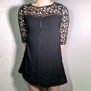 Anthropologie En Creme black lace dress.